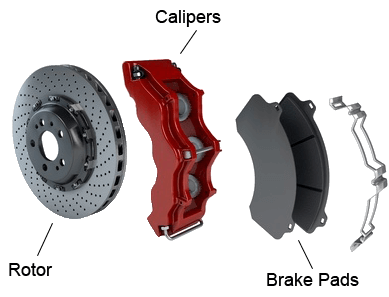 dissasembled disc brake showing rotors, pads, and red calipers